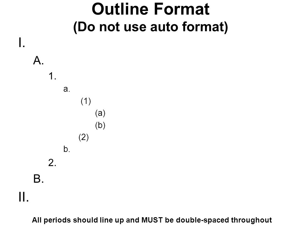 Outline Format (Do not use auto format)