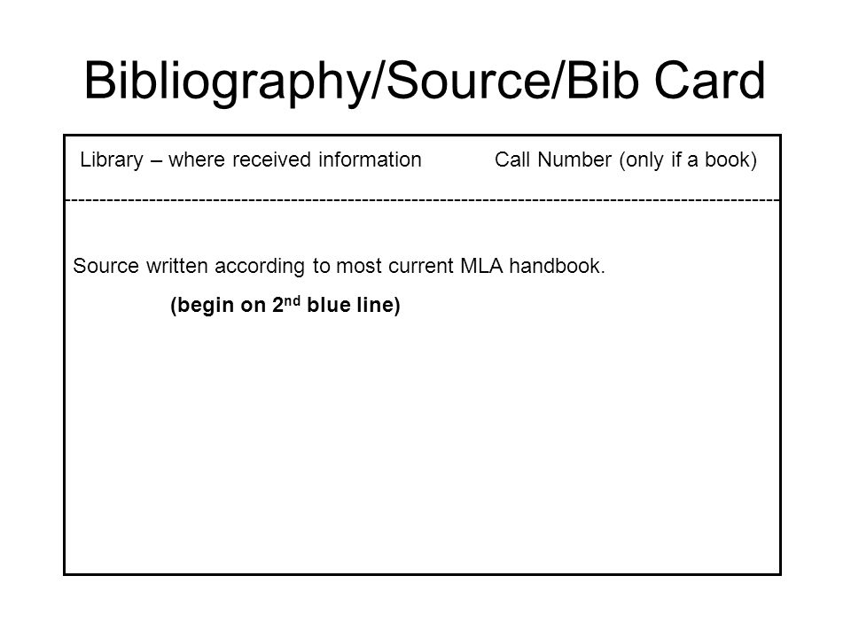 Bibliography/Source/Bib Card