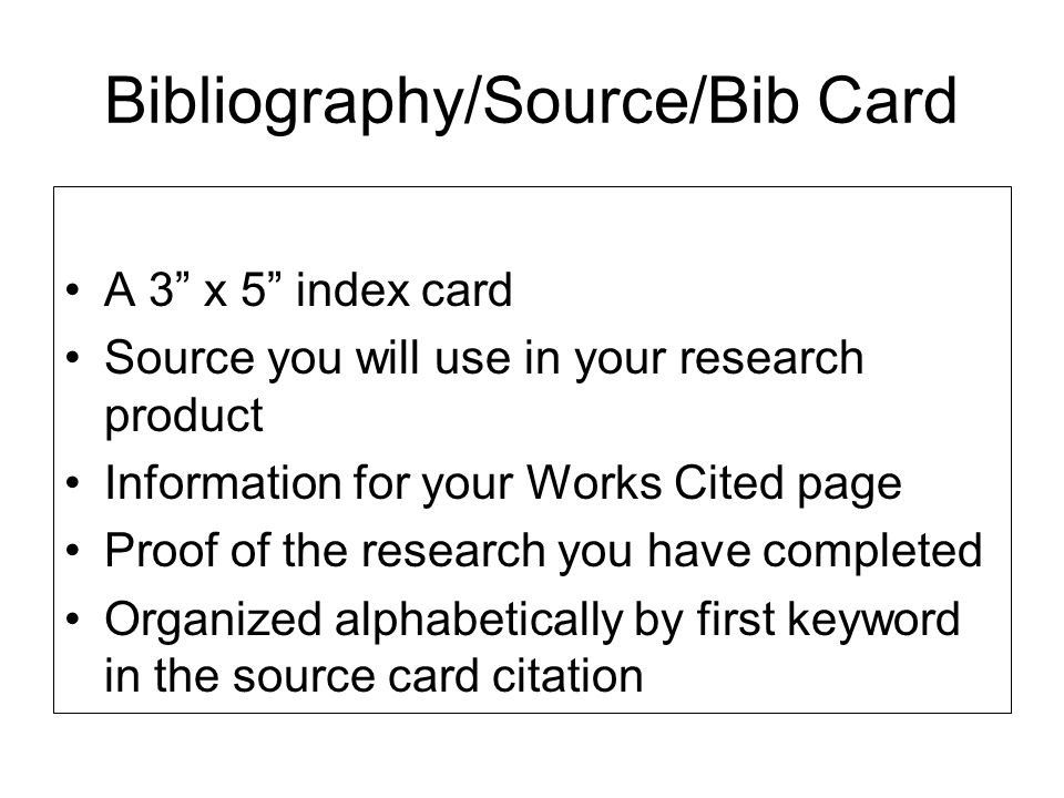 Bibliography/Source/Bib Card