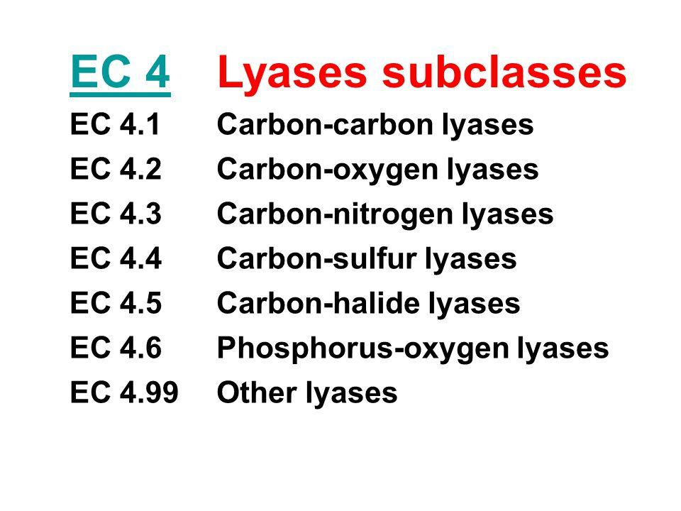 EC 4 Lyases subclasses EC 4.1 Carbon-carbon lyases EC 4.2