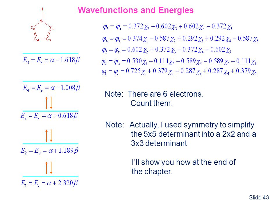 Wavefunctions and Energies