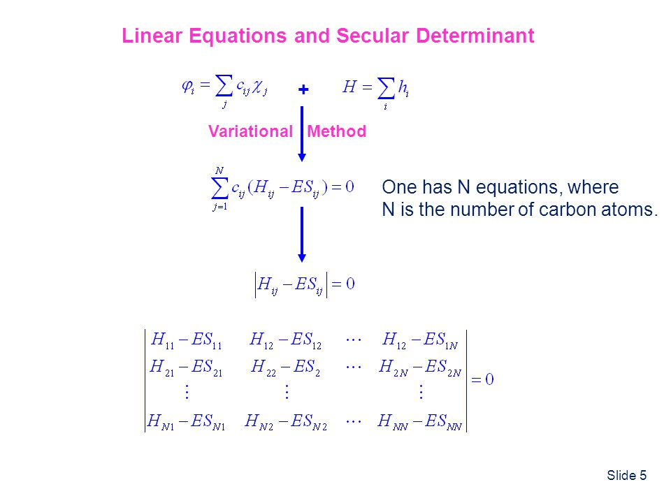 Linear Equations and Secular Determinant