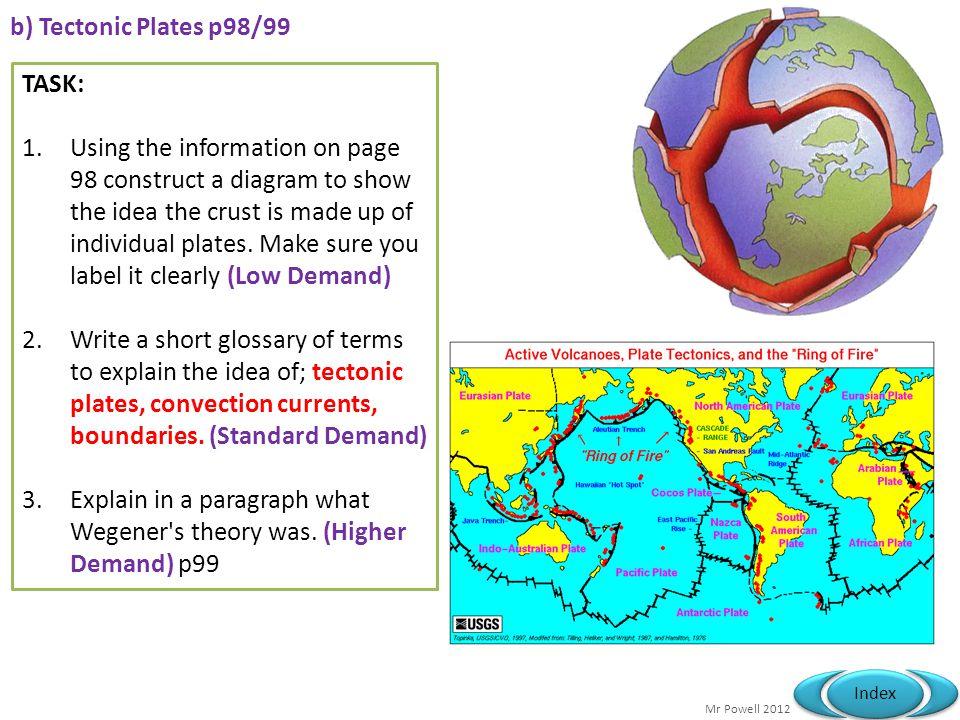 b) Tectonic Plates p98/99 TASK: