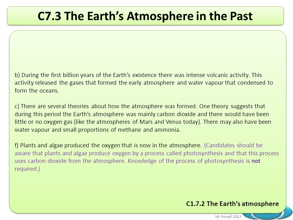 C7.3 The Earth's Atmosphere in the Past