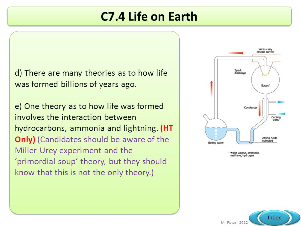C7.4 Life on Earth d) There are many theories as to how life was formed billions of years ago.
