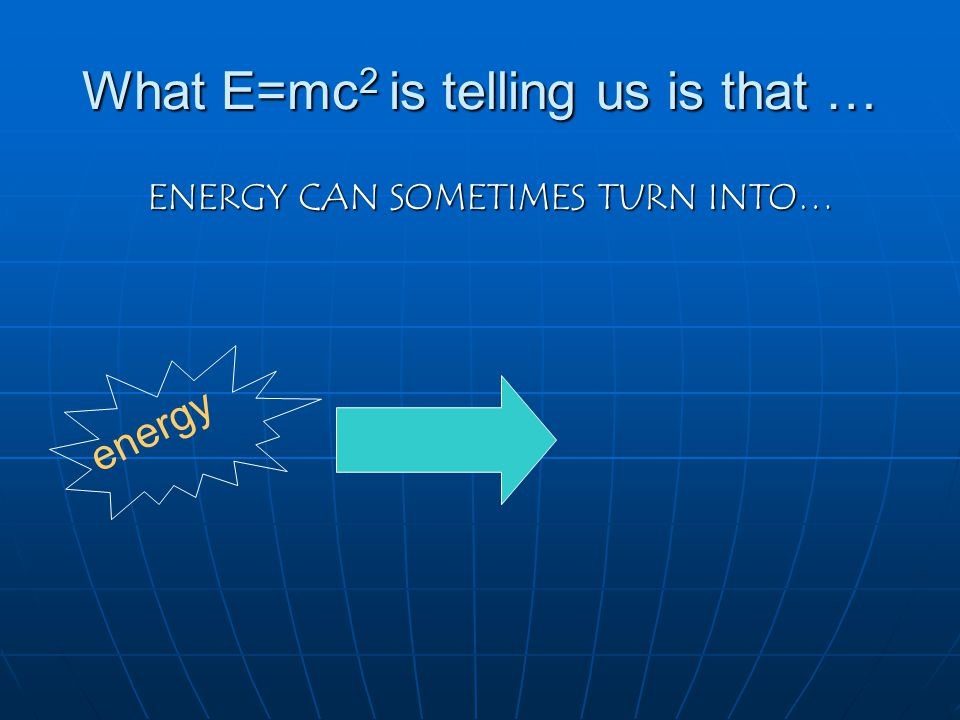 What E=mc2 is telling us is that …