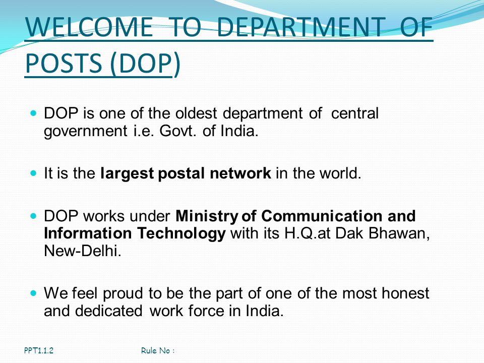 WELCOME TO DEPARTMENT OF POSTS (DOP)