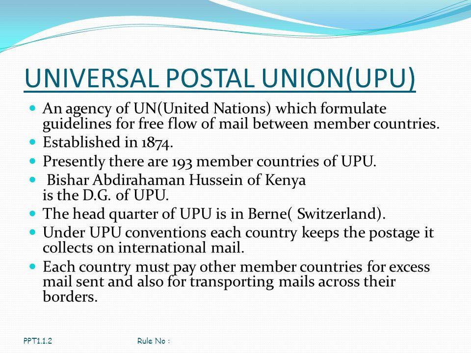 UNIVERSAL POSTAL UNION(UPU)