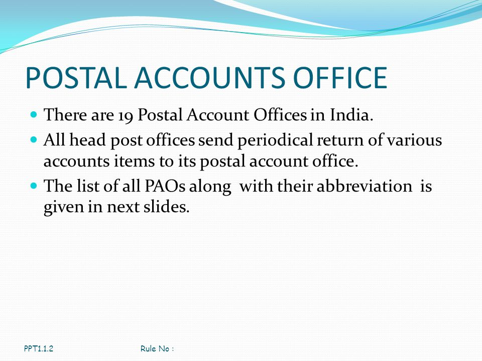 POSTAL ACCOUNTS OFFICE