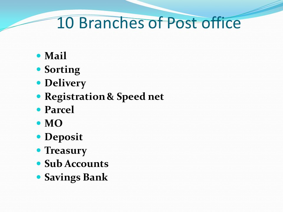 10 Branches of Post office