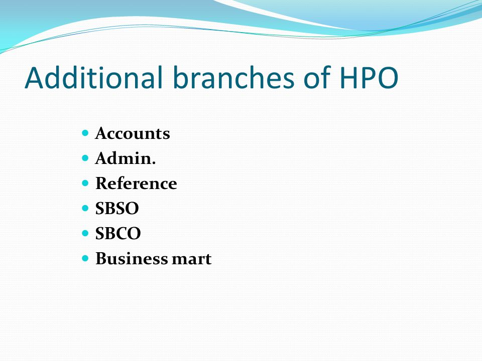 Additional branches of HPO