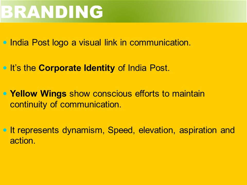 BRANDING India Post logo a visual link in communication.