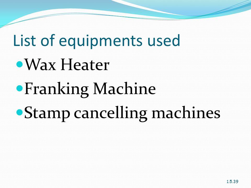 List of equipments used