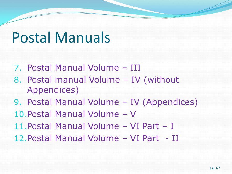 Postal Manuals Postal Manual Volume – III