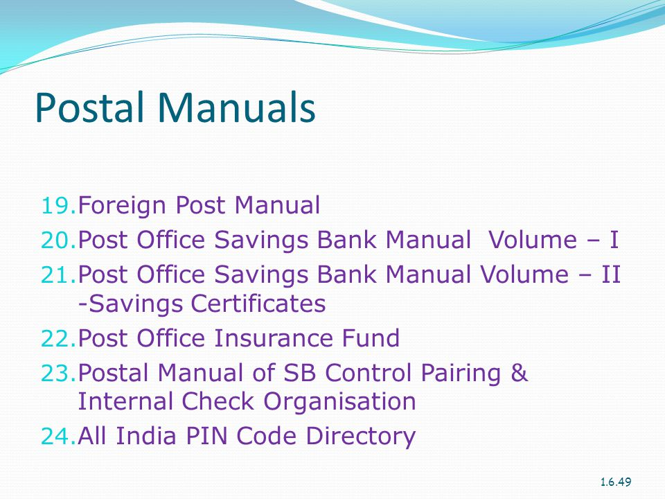 Postal Manuals Foreign Post Manual