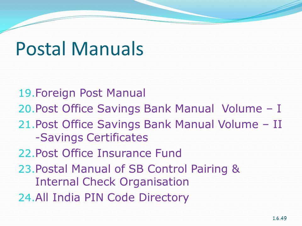 Postal Manuals Foreign Post Manual