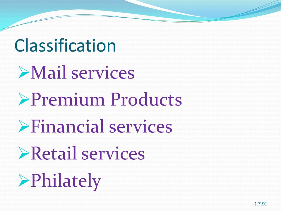 Classification Mail services Premium Products Financial services