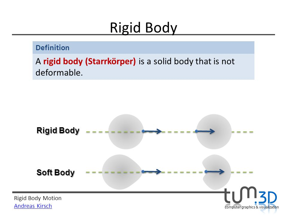 Rigid Body A rigid body (Starrkörper) is a solid body that is not deformable. Rigid Body Soft Body
