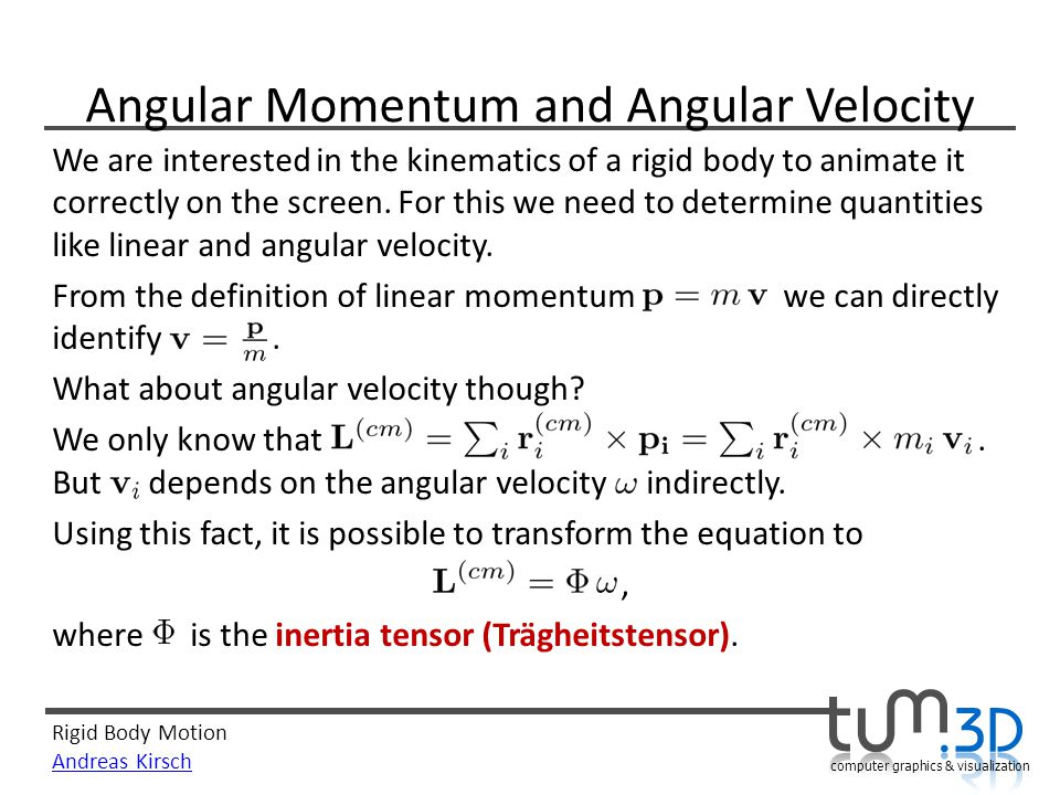 Angular Momentum and Angular Velocity