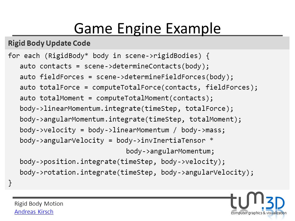 Game Engine Example Rigid Body Update Code