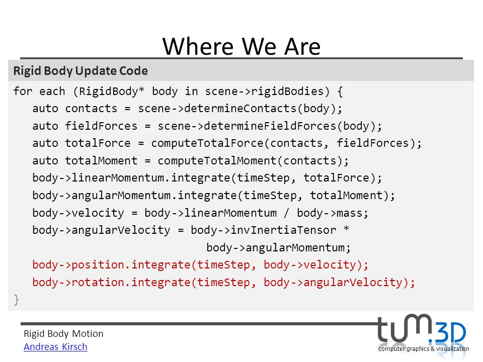 Where We Are Rigid Body Update Code