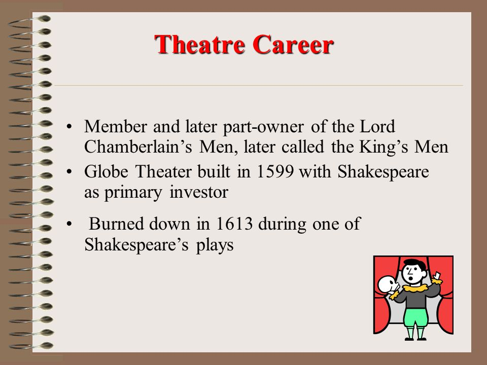 Theatre Career Member and later part-owner of the Lord Chamberlain's Men, later called the King's Men.