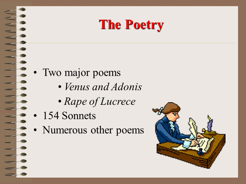 The Poetry Two major poems Venus and Adonis Rape of Lucrece