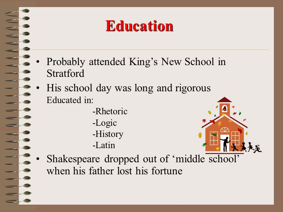 Education Probably attended King's New School in Stratford