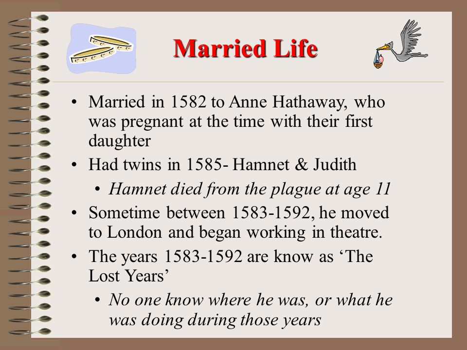 Married Life Married in 1582 to Anne Hathaway, who was pregnant at the time with their first daughter.