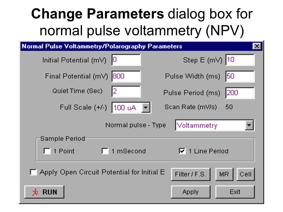 Change Parameters dialog box for normal pulse voltammetry (NPV)