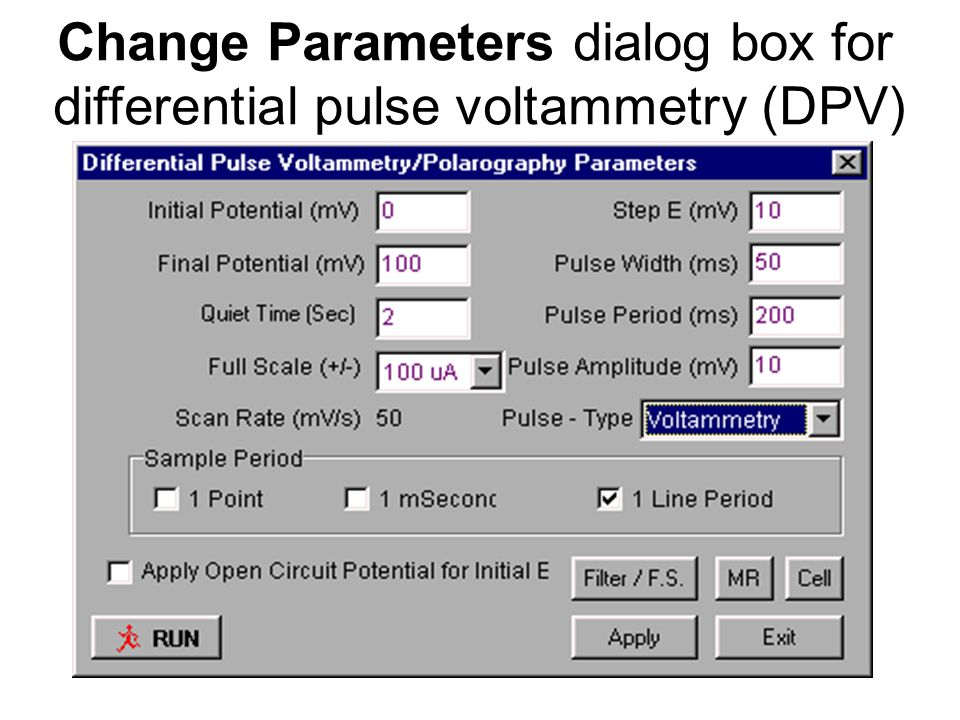 Change Parameters dialog box for differential pulse voltammetry (DPV)