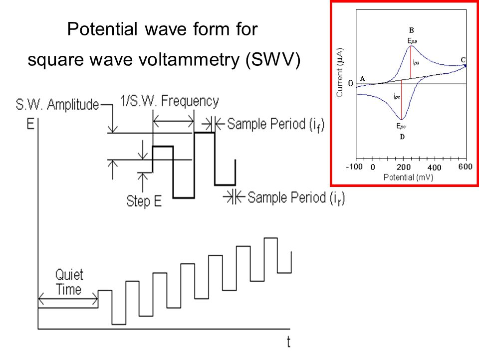 Potential wave form for square wave voltammetry (SWV)