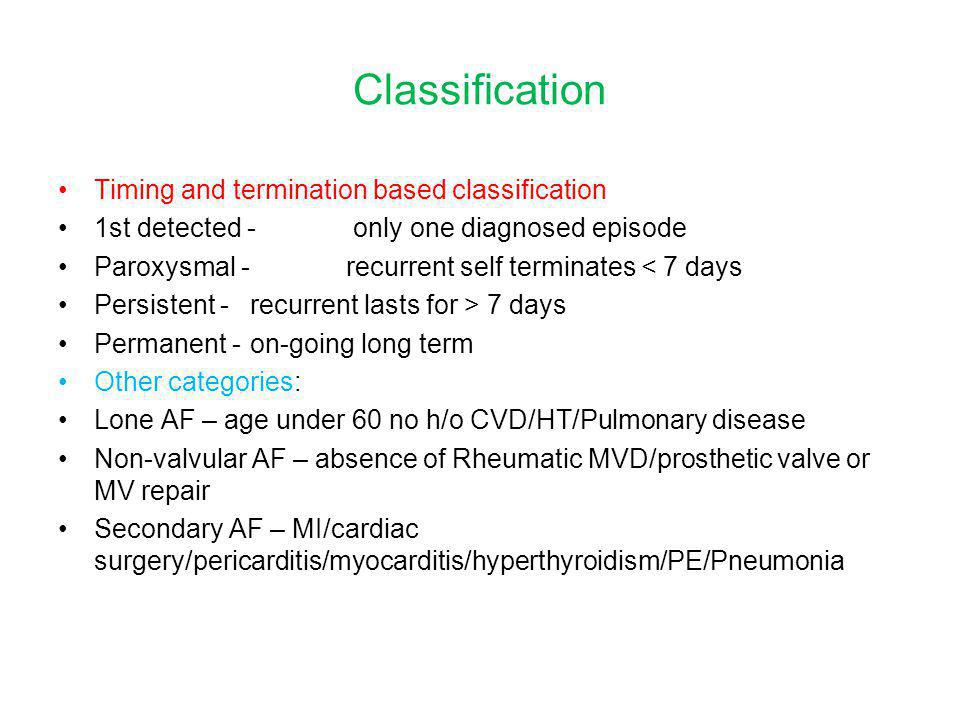 Classification Timing and termination based classification