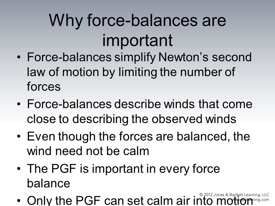 Why force-balances are important