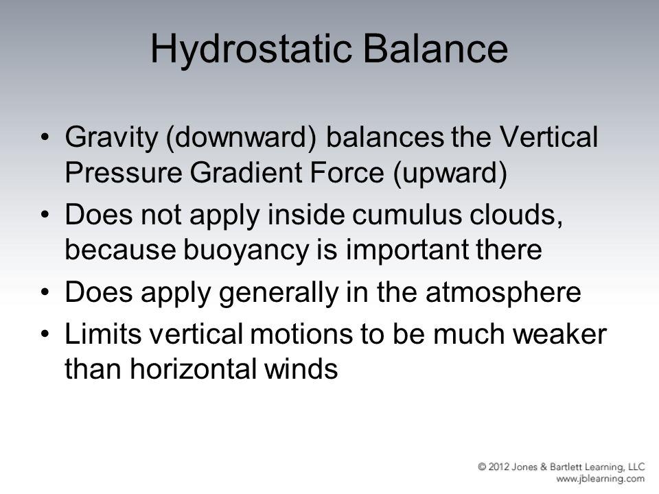Hydrostatic Balance Gravity (downward) balances the Vertical Pressure Gradient Force (upward)