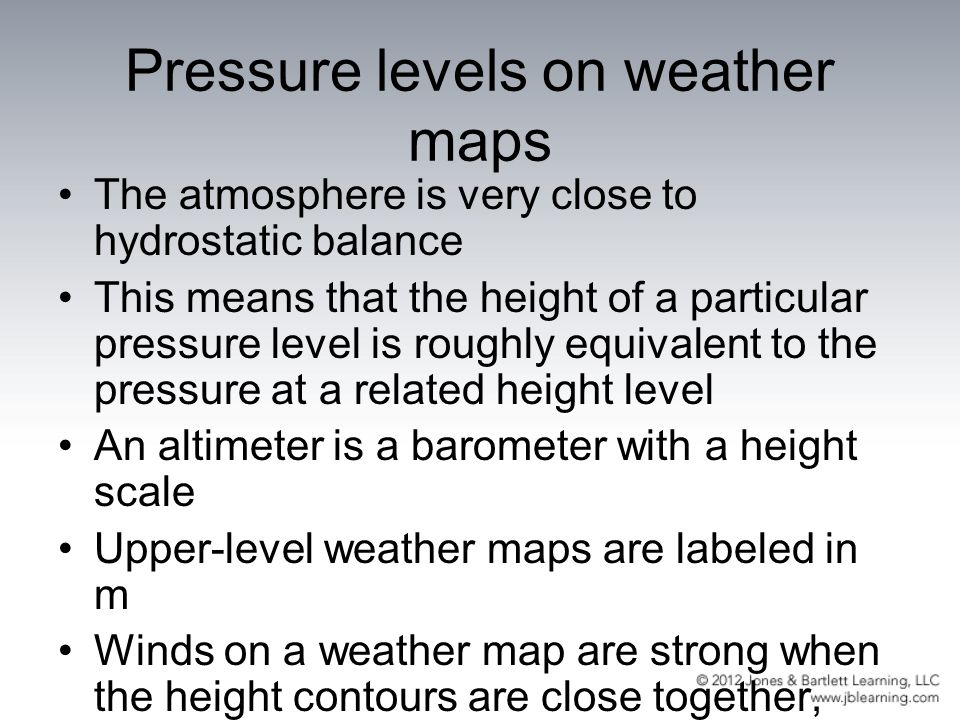 Pressure levels on weather maps