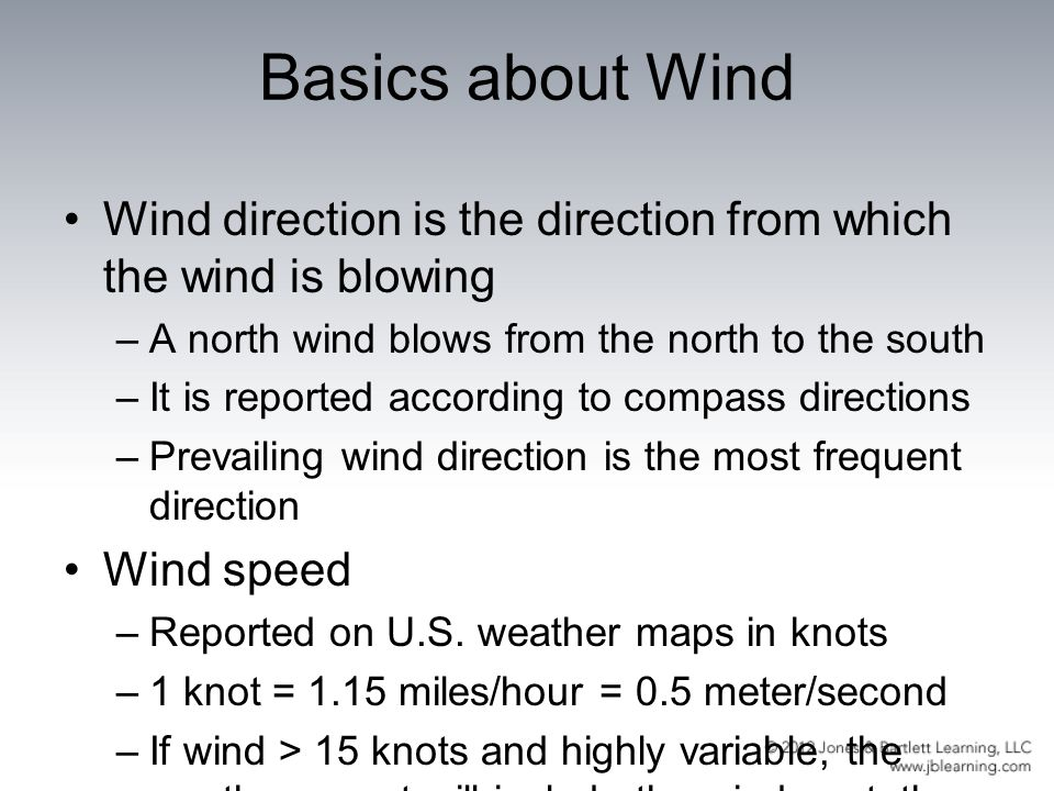 Basics about Wind Wind direction is the direction from which the wind is blowing. A north wind blows from the north to the south.