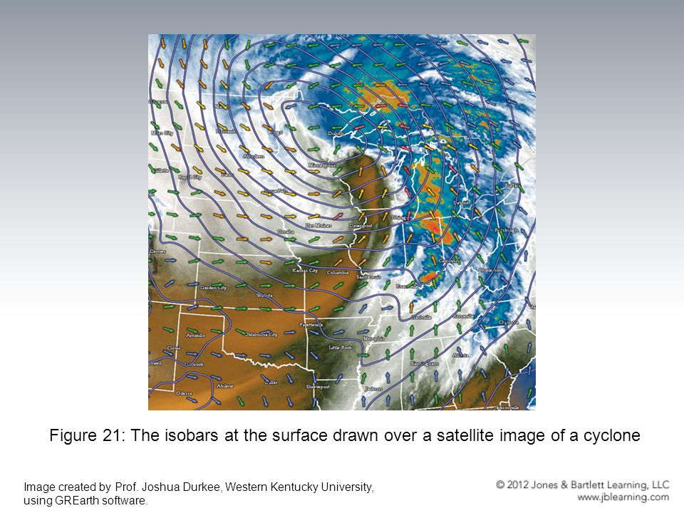 Figure 21: The isobars at the surface drawn over a satellite image of a cyclone