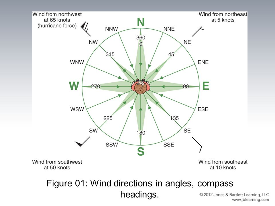 Figure 01: Wind directions in angles, compass headings.