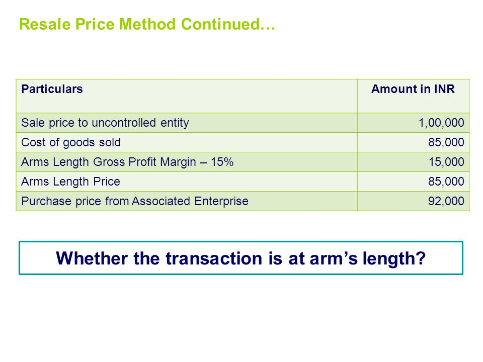 Whether the transaction is at arm's length