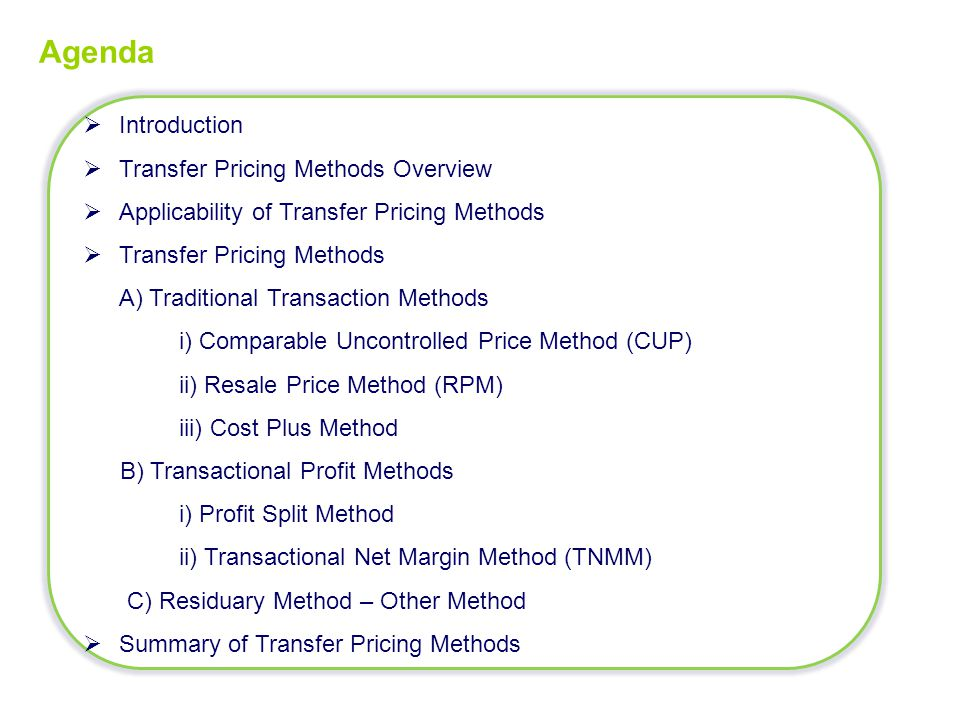Agenda Introduction Transfer Pricing Methods Overview