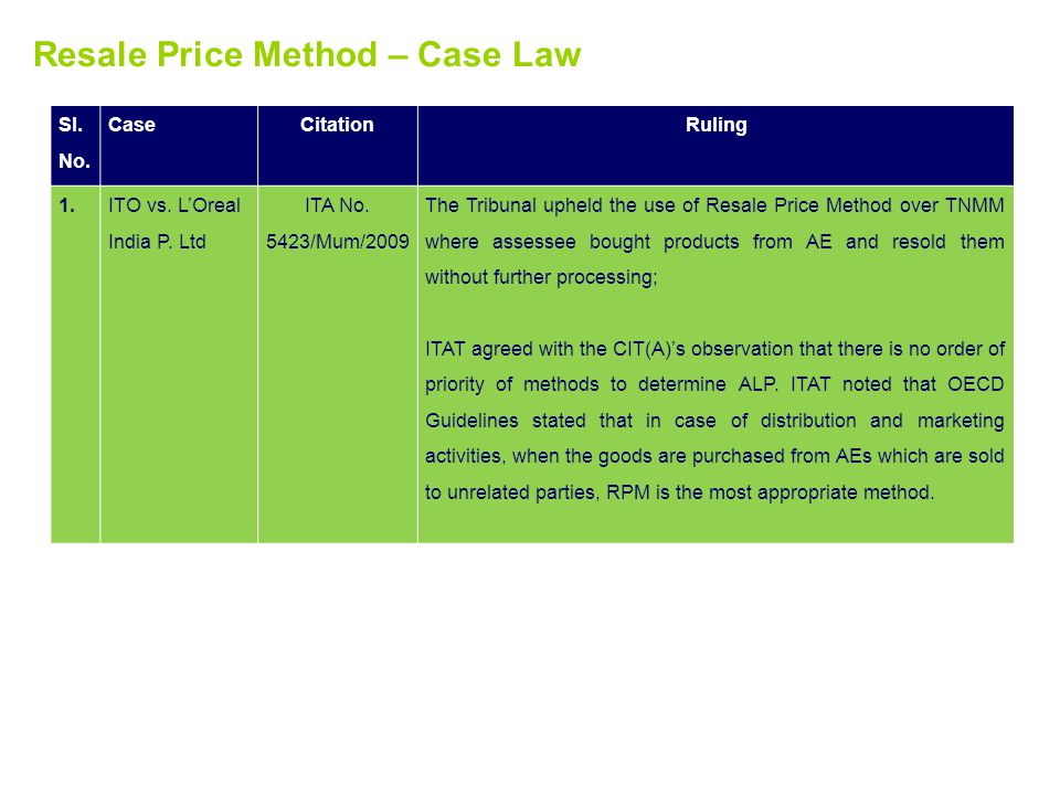 Resale Price Method – Case Law