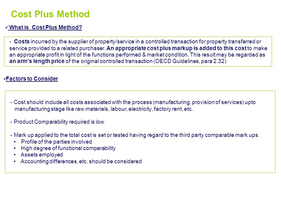 Cost Plus Method What is Cost Plus Method
