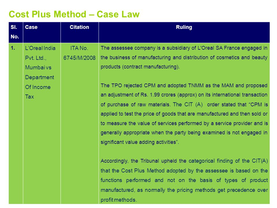 Cost Plus Method – Case Law
