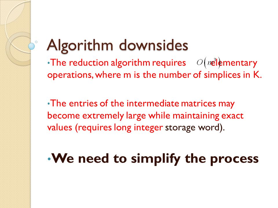Algorithm downsides We need to simplify the process