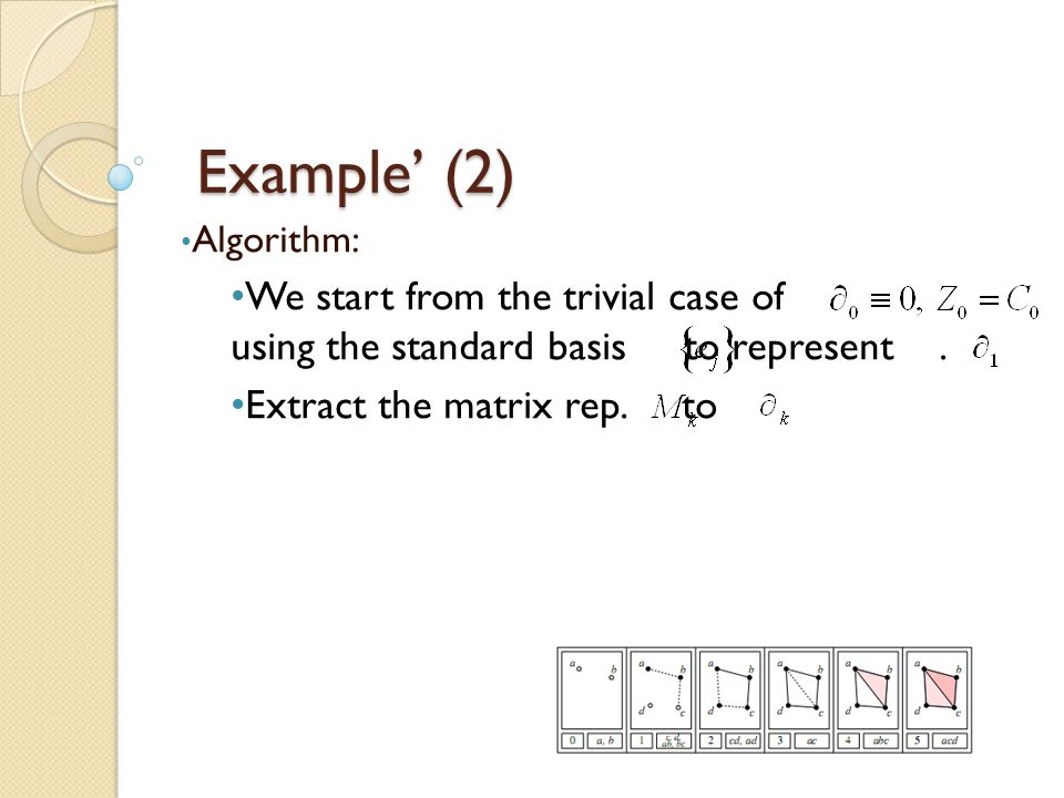 Example' (2) Algorithm: We start from the trivial case of using the standard basis to represent .
