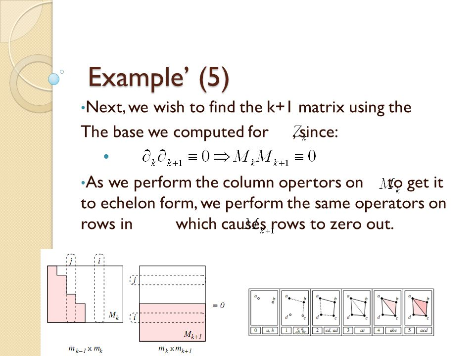 Example' (5) Next, we wish to find the k+1 matrix using the