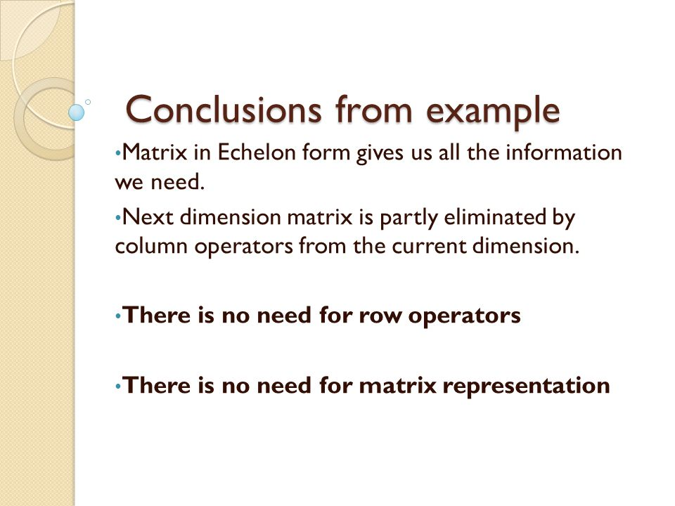 Conclusions from example