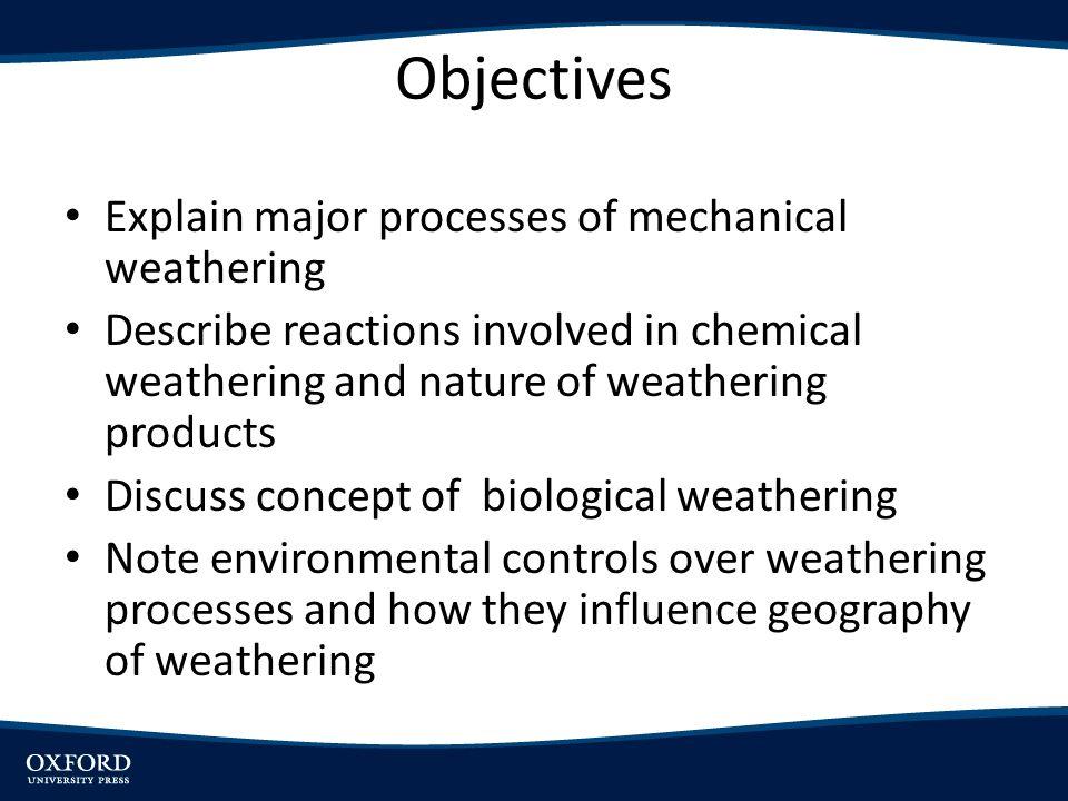 Objectives Explain major processes of mechanical weathering