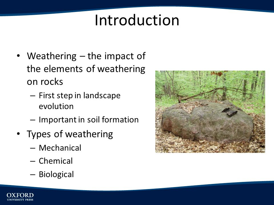 Introduction Weathering – the impact of the elements of weathering on rocks. First step in landscape evolution.